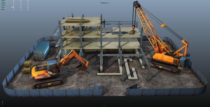 construction pack - crane - digger and props - low poly 3d model low-poly max obj fbx ma mb tga 1