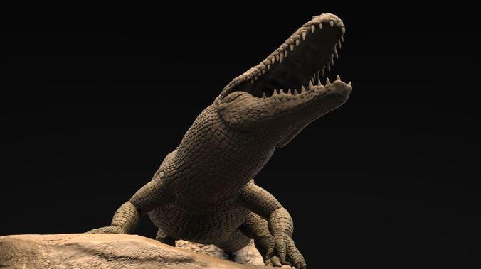 realistic alligator high poly 3d model obj mtl ztl 1