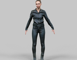 girl in shiny black outfit rigged 3d model low-poly rigged fbx