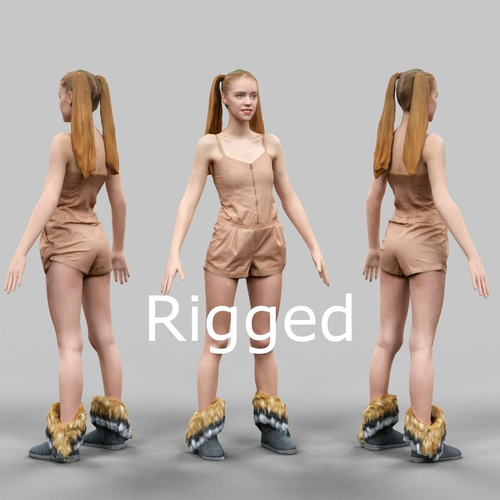 girl in beige jumpsuit and double ponytails rigged 3d model rigged fbx 1