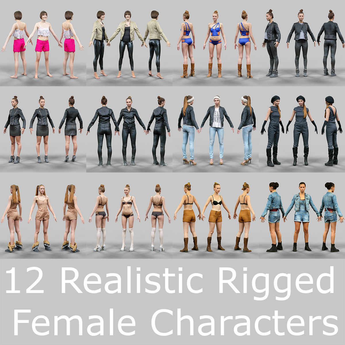 12 Rigged Female Characters