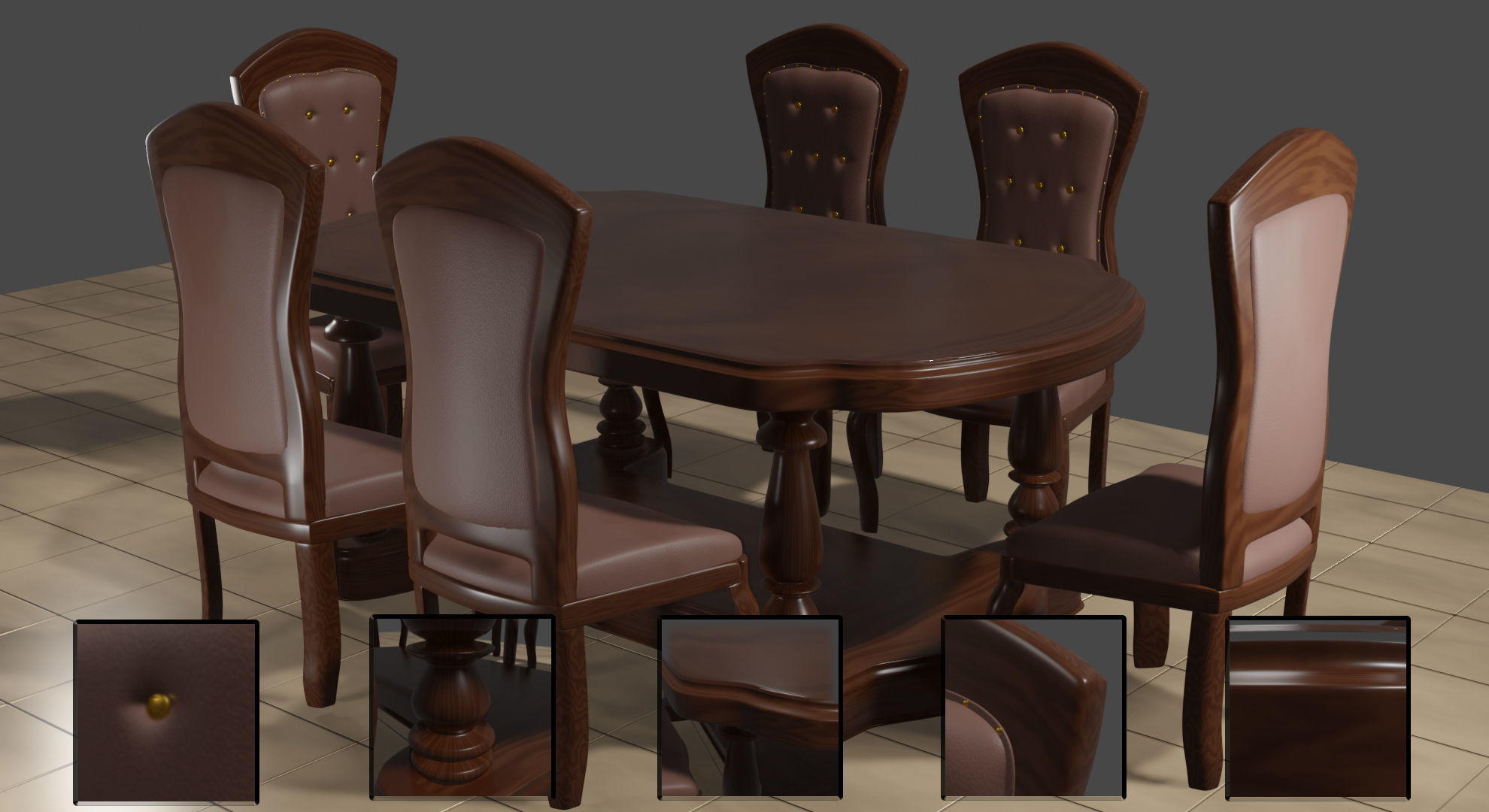 Dining Table - Indonesian teak wood 3D model | CGTrader