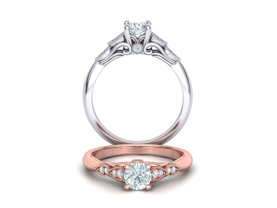 Nautilus 4 prong Engagement ring 3dmodel with 5mm
