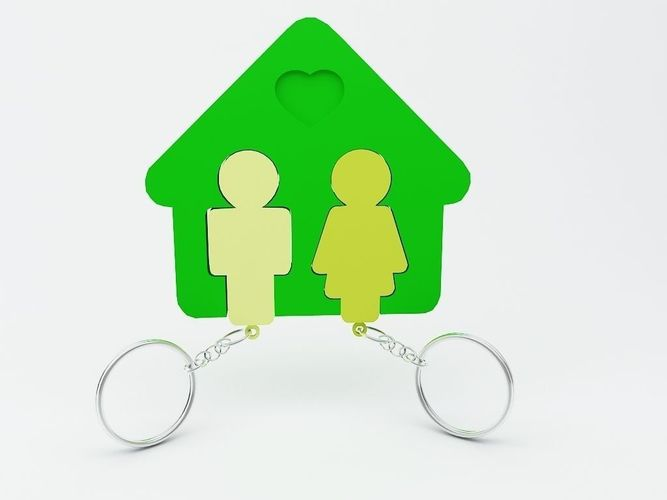 key chain for home and couples 3d model stl 1
