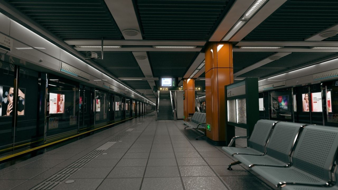 subway station in shanghai  3d model ma mb tga 1