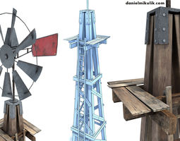 3d model low poly wild west wind mill game-ready
