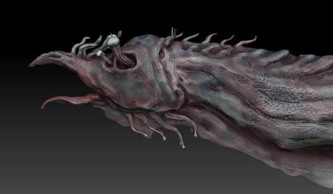 aquatic monster or alien sculpt 3d model low-poly obj 3ds fbx blend ztl 1