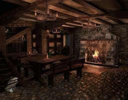 game-ready 3d model medieval city tavern PBR