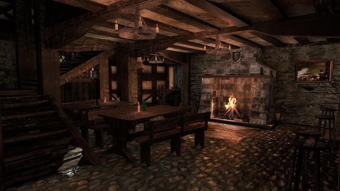 medieval city tavern 3d model low-poly obj mtl 3ds fbx blend X ms3d 1