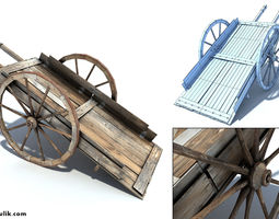 low poly wild west cart 3d model realtime