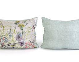 voyage cushion - morning chorus -piped pillow 3d model