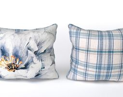 3d model voyage cushion - peony blue -piped pillow