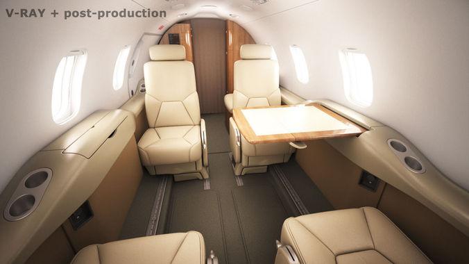 learjet 31 cabin - interior 3d model max obj 3ds fbx c4d lwo lw lws 1