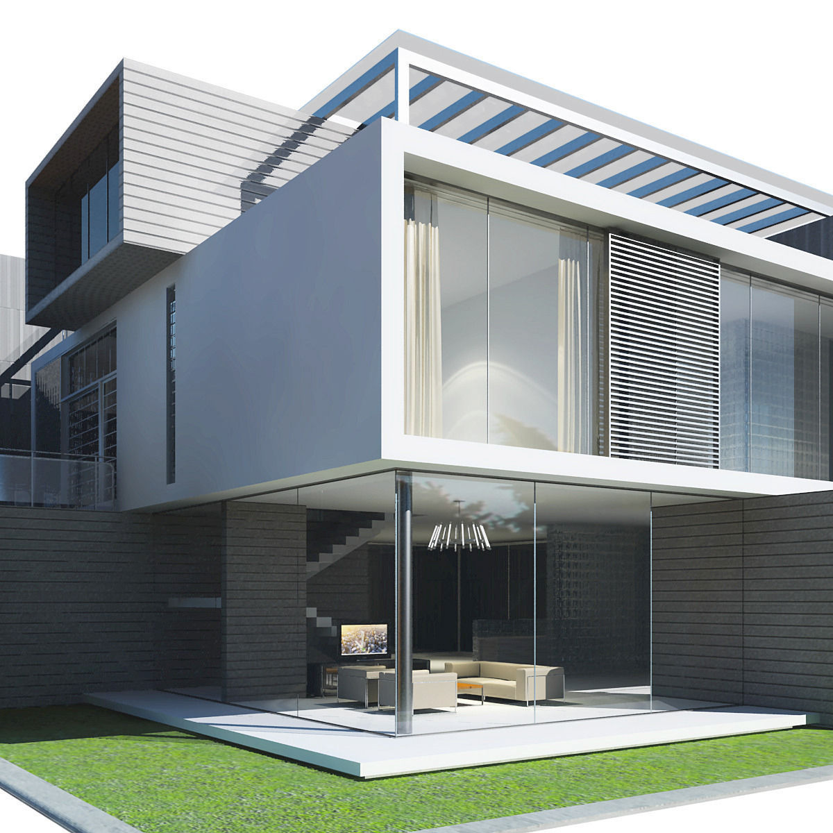 3d Modern House Plans Projects Collection: Modern House 3D Model MAX OBJ 3DS FBX