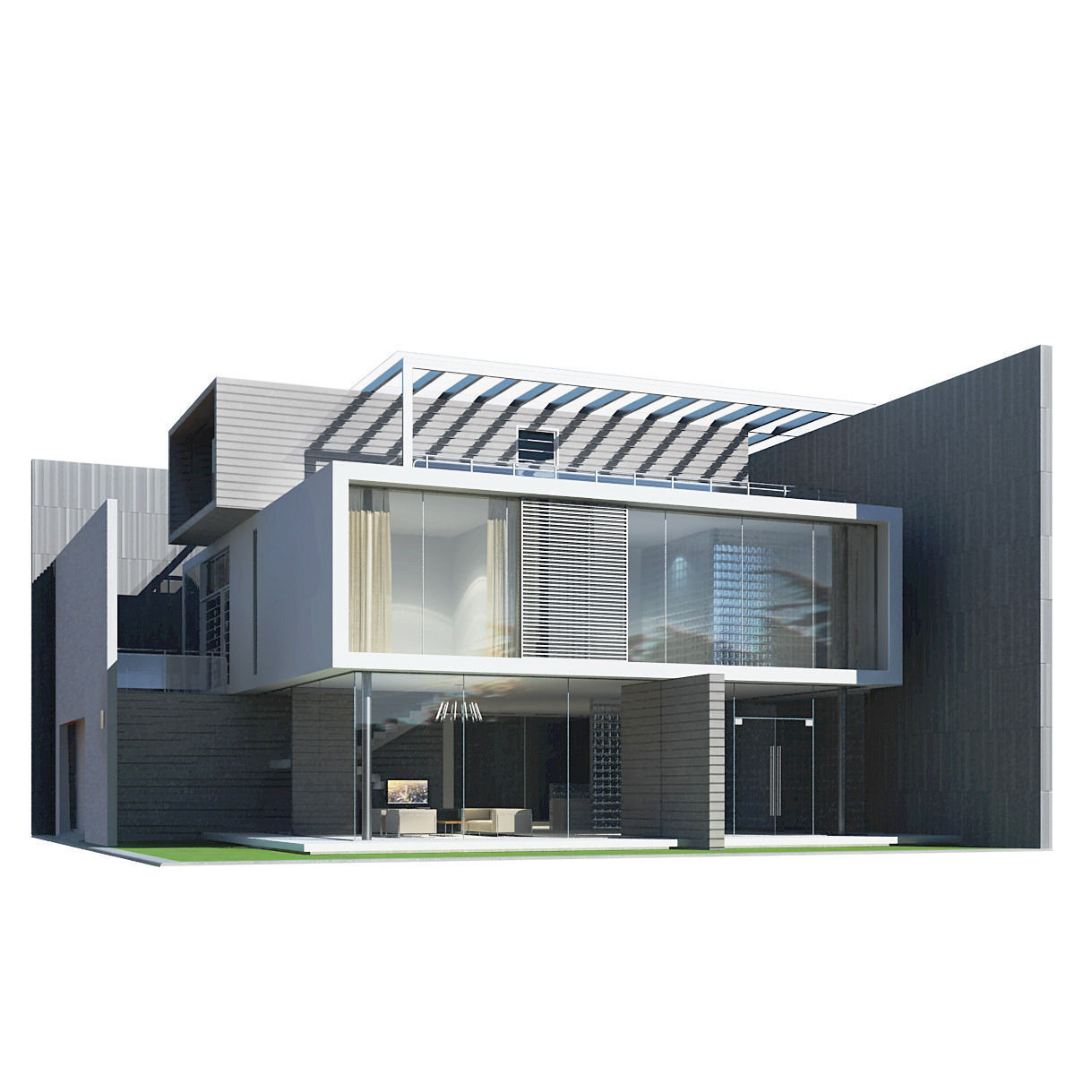 Nice 3d House Modeling Part - 5: Modern House 3d Model Max Obj 3ds Fbx 1 ...