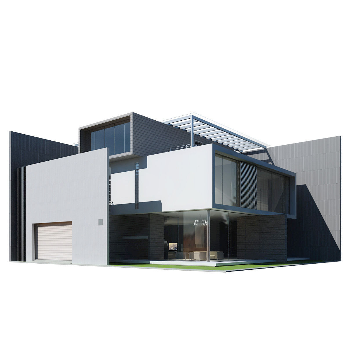 Modern house 3d model max obj 3ds fbx for Exterior 3d model