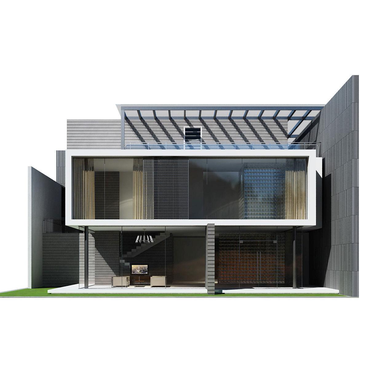 Modern house 3d model max obj 3ds fbx - 3d max models free download exterior ...