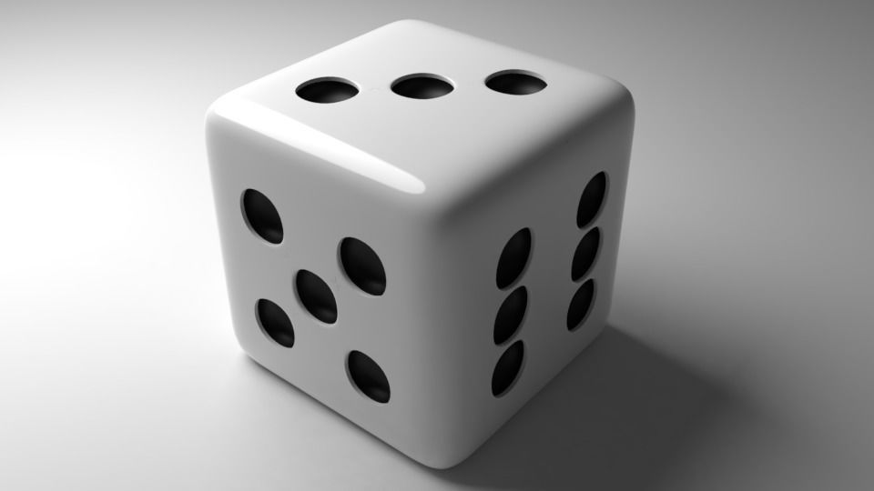 White Dice Low-poly