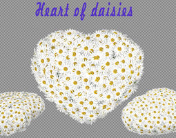 heart of daisies 3d model max obj fbx