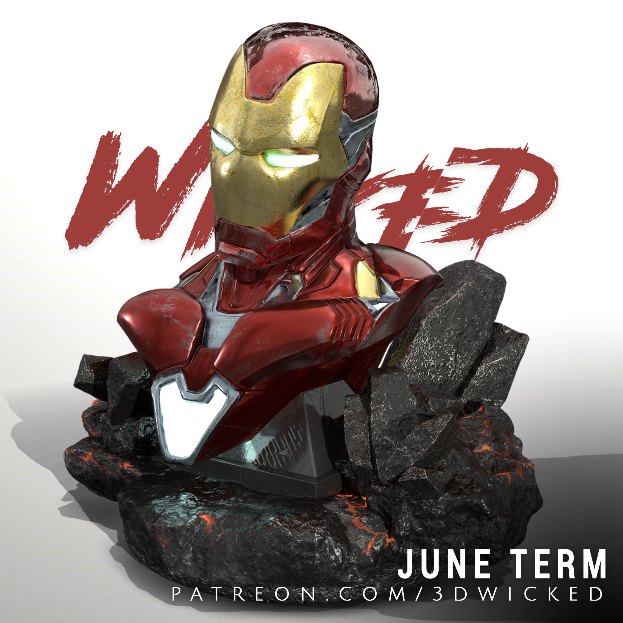 Wicked Marvel Avengers Iron man 3d Bust STL ready for printing