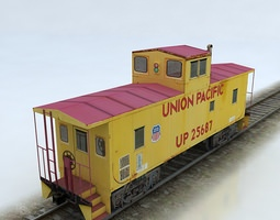 3d model VR / AR ready union pacific caboose