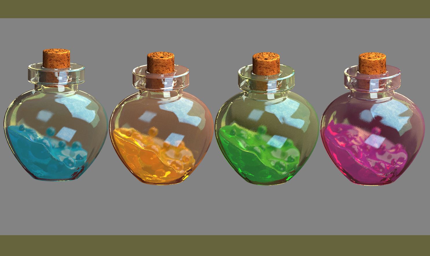 potion bottles jelly material