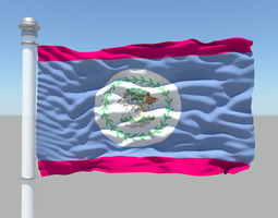 Belize Flag 3D