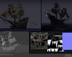 3d asset ghost ship VR / AR ready