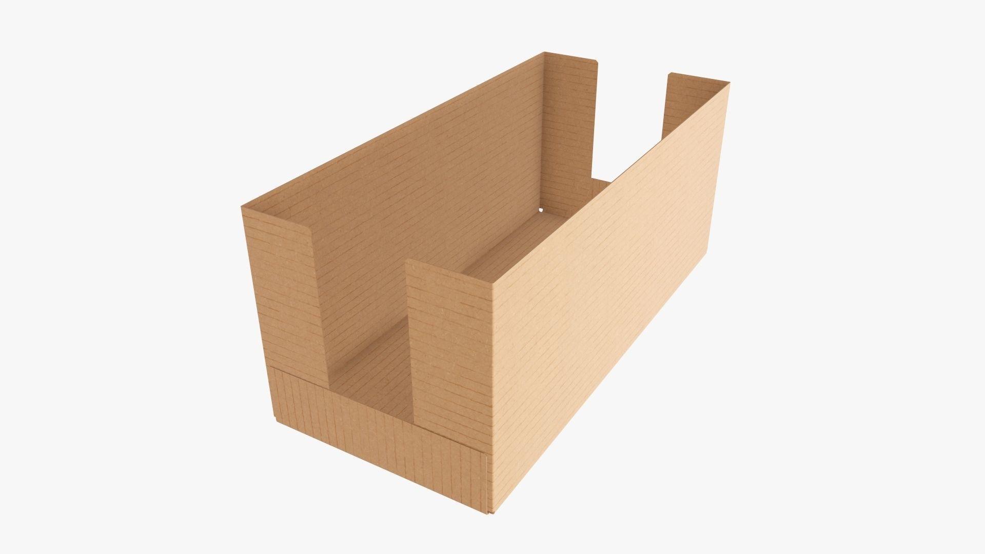 Tray cardboard box short shelf