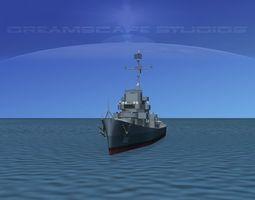 Destroyer Escort DE-222 USS Fowler 3D