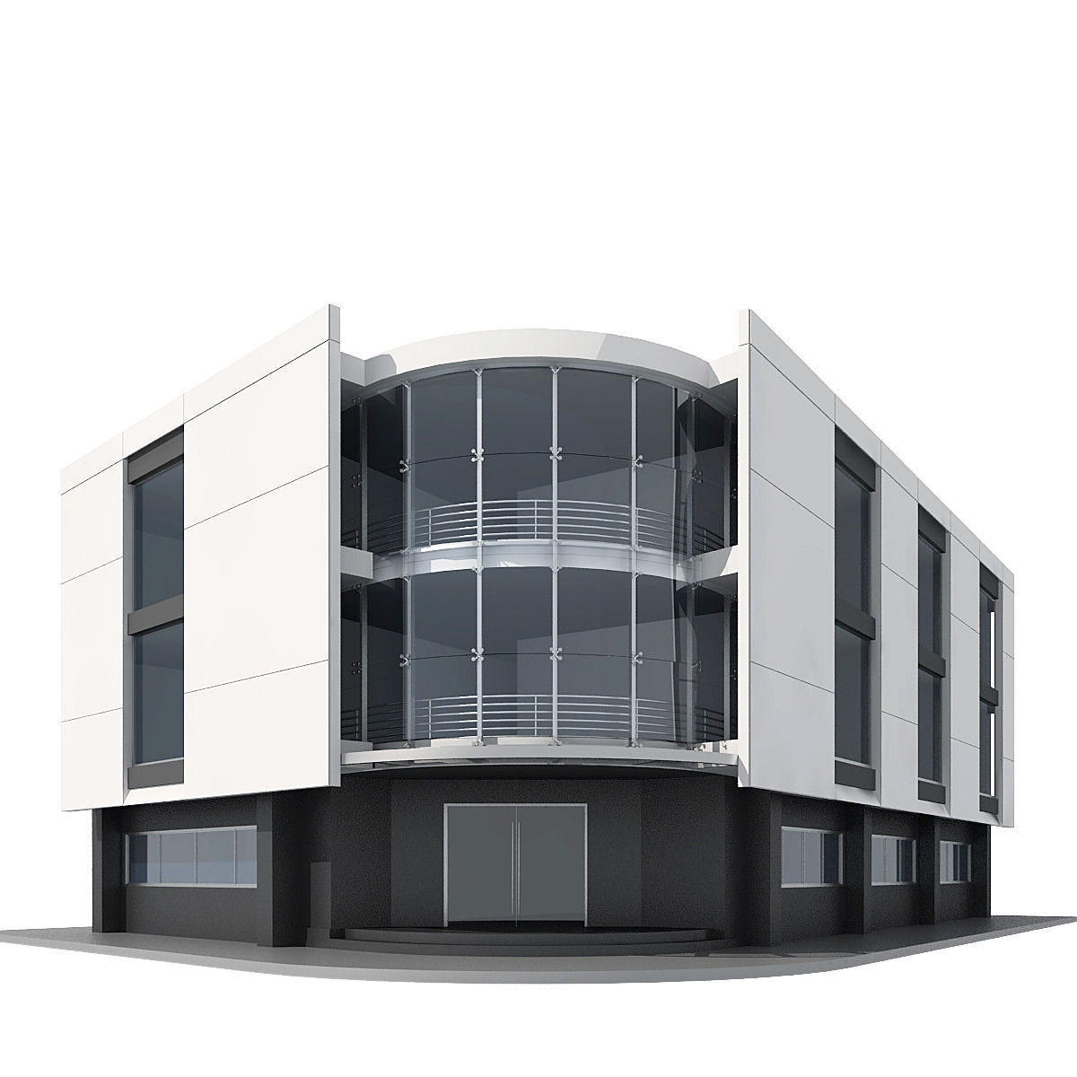 Corner building 3d model max obj 3ds 3d house building
