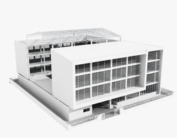 Low rise office building with courtyard 3D model