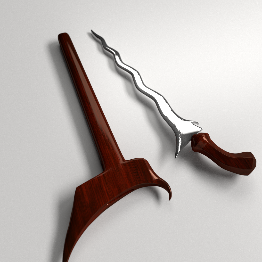 keris dagger 3d model 3ds fbx blend dae 2