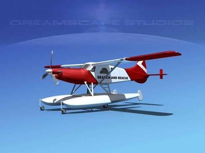 dehavilland dhc-2 turbo beaver  v18 3d model animated max obj mtl 3ds lwo lw lws dxf stl 1