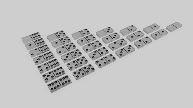 Glass Domino Set 28 Pieces 3d Asset, Glass Domino Set