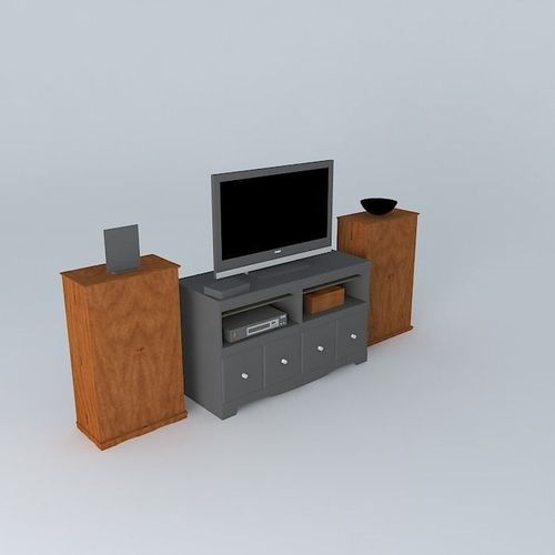 Entertainment Center 3d Model Max Obj 3ds Fbx Stl Skp 1