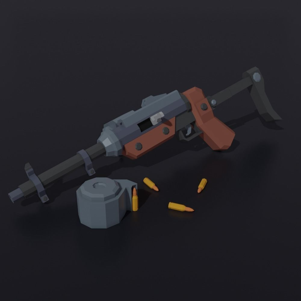 Post apocalyptic self-made sub-machinegun Low Poly style