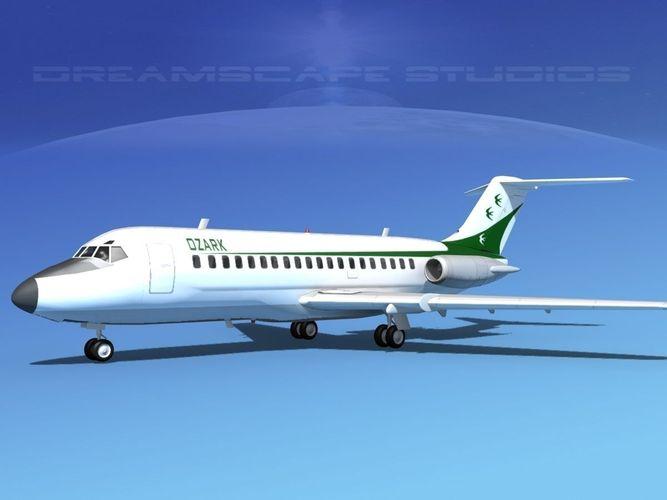douglas dc-9-20 ozark airlines 3d model max obj 3ds lwo lw lws dxf stl 1
