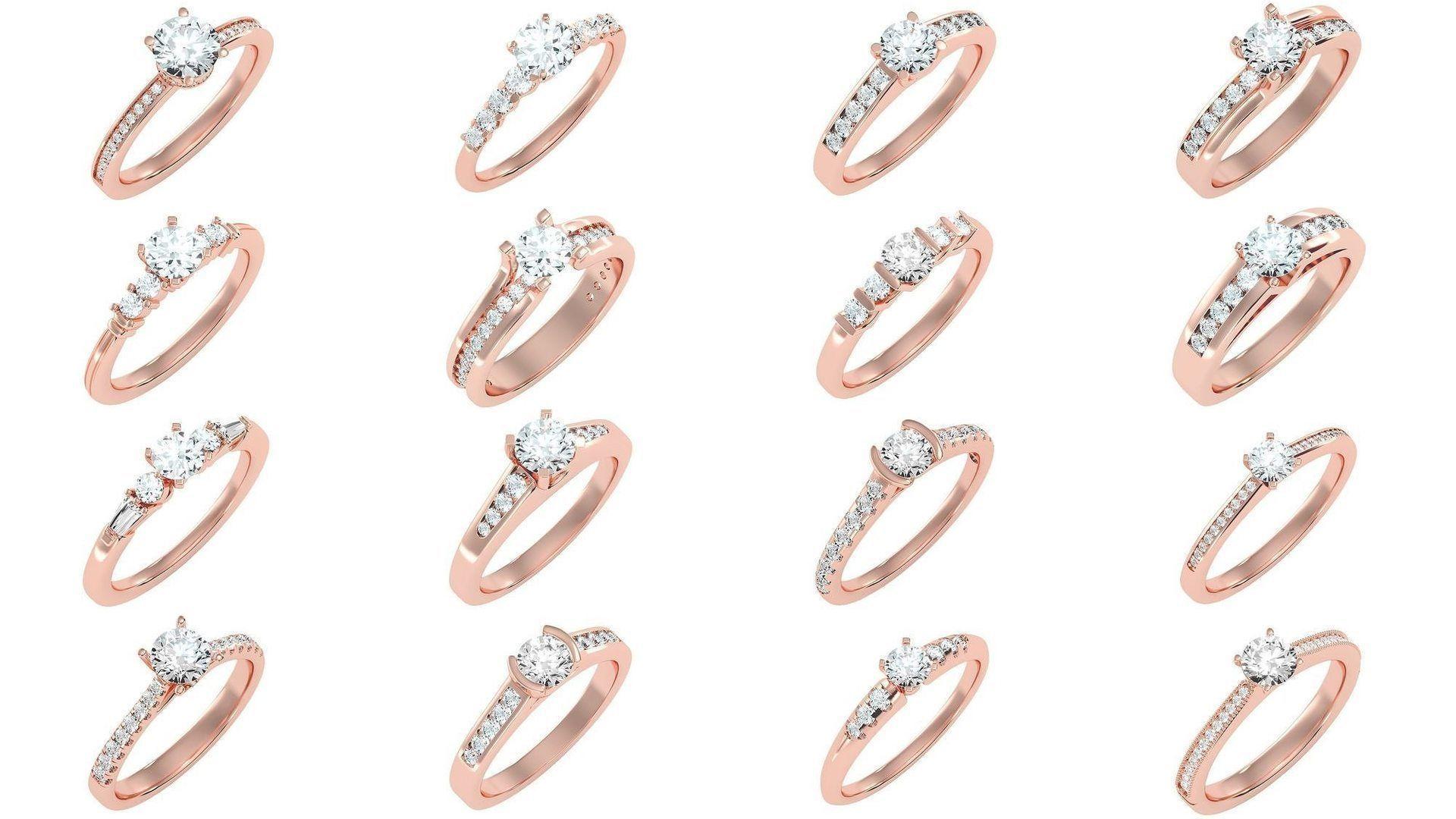 1000 solitaire wedding engagement women ring 3dm stl render