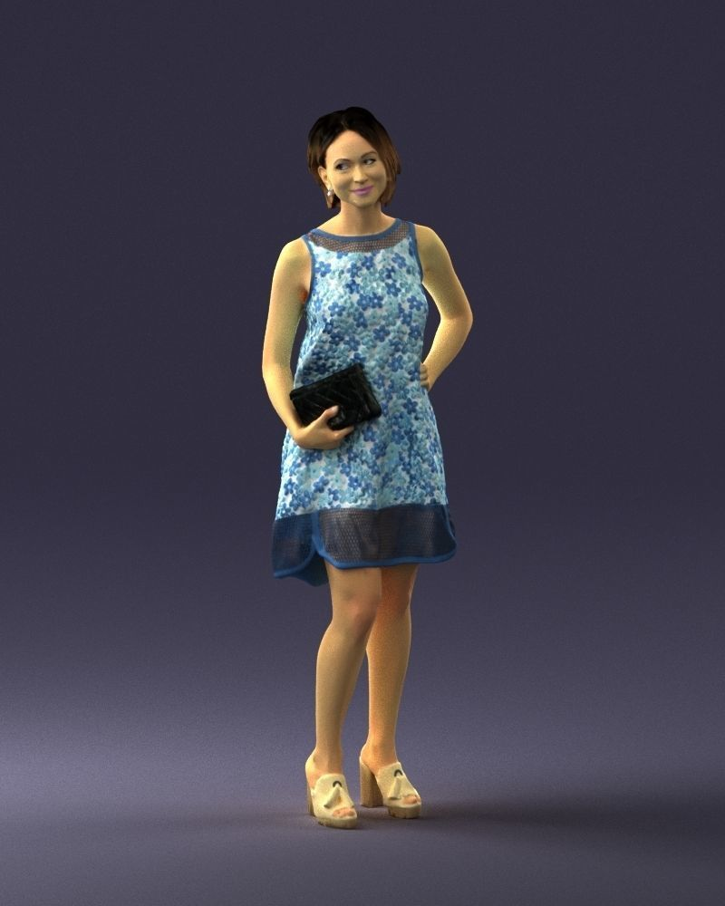 Girl in a blue sundress with a clutch 0280