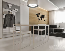 white minimalistic flat interior for small family 3d