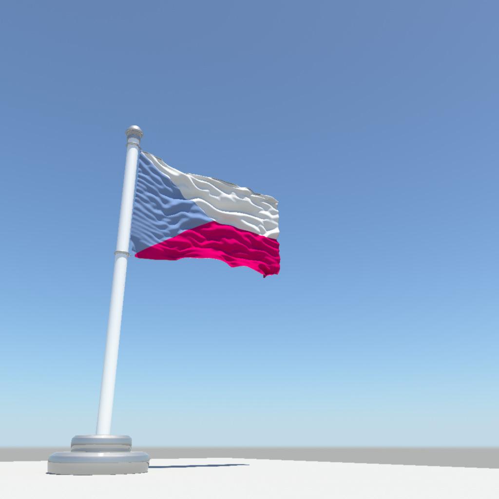 Czech Republic Flag 3d Model Obj Fbx Ma Mb 2
