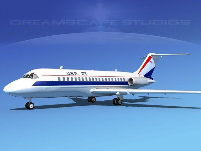 douglas dc-9-20 usa jet 3d model max obj 3ds lwo lw lws dxf stl 1