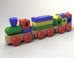 wood train toy 3d