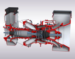 game-ready 3d model gas turbine