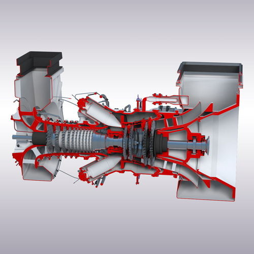 Light Industrial Gas Turbine: Gas Turbine 3D Asset Low-poly