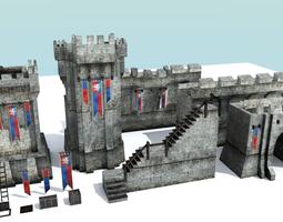 medieval city walls - modular low-poly PBR 3d model