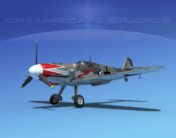 messerschmitt bf-109 v14 3d model rigged max obj 3ds lwo lw lws dxf stl