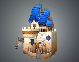 game-ready 3d model low poly medieval castle