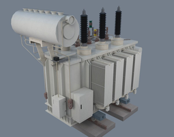 game-ready 3d asset electrical transformer type 1